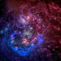 Spiral galaxy and space nebula. Elements of this image furnished by NASA.