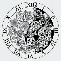 Watch parts. Clock mechanism with cogwheels. Vector illustrations