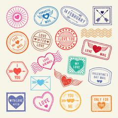 Vintage romantic postal stamps. Vector love elements for scrapbook or letters design