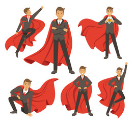 Powerful businessman in different action superhero poses. Vector illustrations in cartoon style