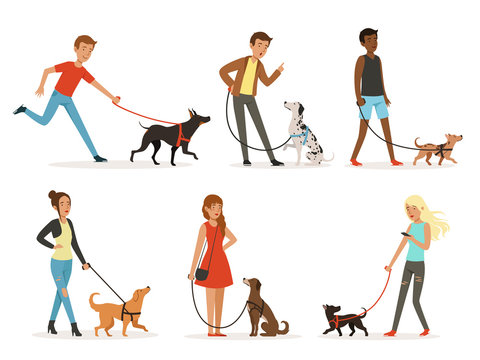 Animal friendship. Happy people walking with funny dogs. Illustrations in cartoon style