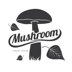 Mushroom logo templates for your design. Autumn, fallen leaves of trees, dry grass. Mushroom badges, labels, brochures, business templates. Vector illustration isolated on white background