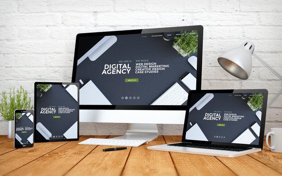cool website responsive digital agency screen multidevices