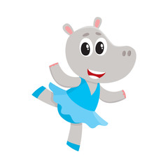 Happy cute little hippo character, ballet dancer in pointed shoes and tutu skirt, cartoon vector illustration isolated on white background. Little hippo baby animal, ballet dancer, ballerina in tutu