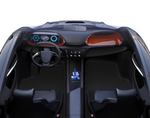 Front view of autonomous car interior. The center touch screen display music playlist, and navigation map on driver side screen. 3D rendering image.