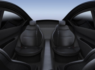 Rear seat of autonomous car. 3D rendering image.