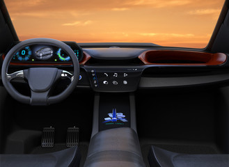 Front view of autonomous car interior concept. Flat design multimedia icons on the center touch screen. 3D rendering image.