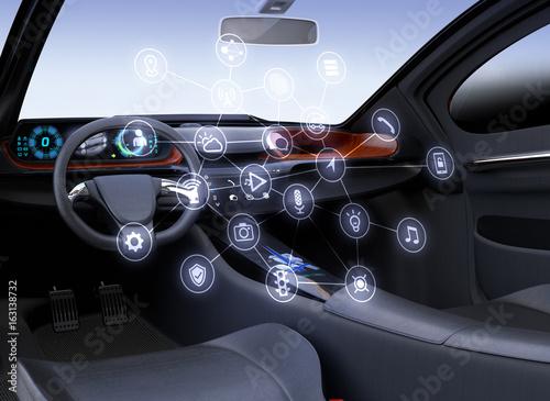 Autonomous car interior  Connected car icons  Internet of