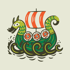 Cartoon ship. Scandinavian viking drakkar