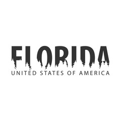Florida. USA. United States of America. Text or labels with silhouette of forest.