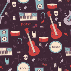 Abstract Music Seamless Pattern. Rock Music Background.