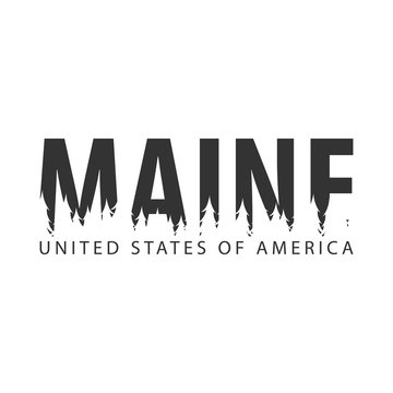 Maine. USA. United States of America. Text or labels with silhouette of forest.