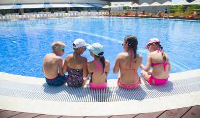 Children play in swimming  pool