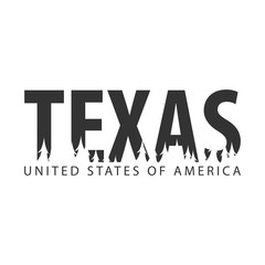 Texas. USA. United States of America. Text or labels with silhouette of forest.