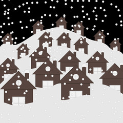 Houses under snow at night. Falling snow on roofs. Graphic vector illustration in flat style.