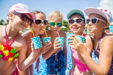 Children drink juice