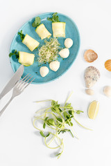Spring rolls with zucchini and mozzarella cheese. Food with micro greens on white background.