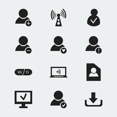 Set Of 12 Editable Global Icons. Includes Symbols Such As Lovely Profile, Error Account, Wifi And More. Can Be Used For Web, Mobile, UI And Infographic Design.