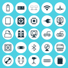 Hardware Icons Set. Collection Of Memory Card, Camcorder, Laptop And Other Elements. Also Includes Symbols Such As Gaming, Sd, Symbol.