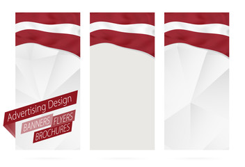 Wall Mural - Design of banners, flyers, brochures with flag of Latvia.