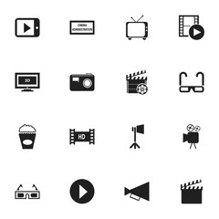 Set Of 16 Editable Filming Icons. Includes Symbols Such As Start, 3D Vision, Action And More. Can Be Used For Web, Mobile, UI And Infographic Design.