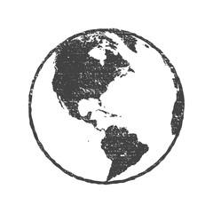 Grunge texture gray world map globe transparent vector illustration
