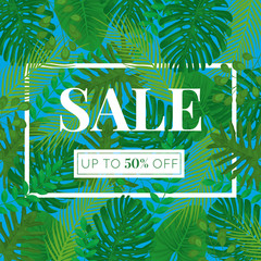 Tropical Leaves Vector SALE Square Banner 50 percent off - Blue