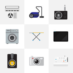 Set Of 9 Editable Home Icons. Includes Symbols Such As Megaphone, Ventilation, Sewing Machine And More. Can Be Used For Web, Mobile, UI And Infographic Design.