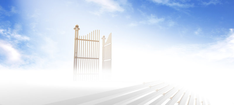 Gates of heaven above stairs in fog with blue sky background