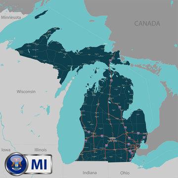 Map of state Michigan, USA