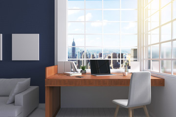 3D Rendering : illustration of modern interior Creative designer office desktop with computer. pc laptops mock up working place of graphic design at house. light from outside. brick wall background