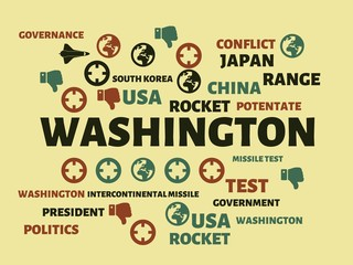 WASHINGTON - image with words associated with the topic NORTH KOREA, word, image, illustration