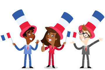 Vector cartoon illustration of patriotic group of French business people with hats waving flags celebrating Bastille Day isolated on white background
