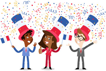 Vector cartoon illustration of confetti showering patriotic group of French business people waving flags celebrating the Fourteenth of July