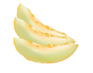 Yellow honeydew slices isolated