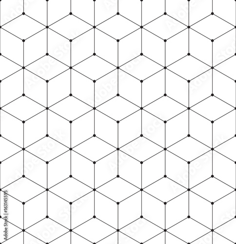 Geometric Abstract Seamless Pattern Cube Lines Background