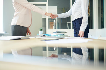 Handshake of two businesswomen over workplace