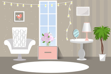 The interior of the living room. Cozy room in pink grey colours. Cartoon. Vector illustration. Flat design.