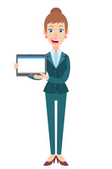 Businesswoman holding tablet PC with two hands
