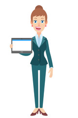 Businesswoman holding tablet PC