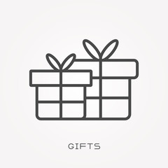 Line icon gifts