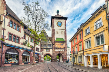 Schwabentor - historical city gate in Freiburg im Breisgau, Baden-Wurttemberg, Germany