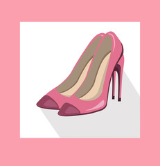 sexy lady shoes pumps vector summer style pink