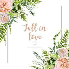 Vector floral design square card design. Succulent, cactus flower garden, eucalyptus, green fern seasonal leaves mix. Greeting invitation wedding editable. Frame copy space & inscription Fall in Love.