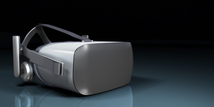 VR virtual reality headset half turned front view isolated on white background VR is an immersive experience in which your head movements are tracked in 3d world render