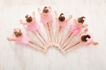 Little girls dancing ballet in studio