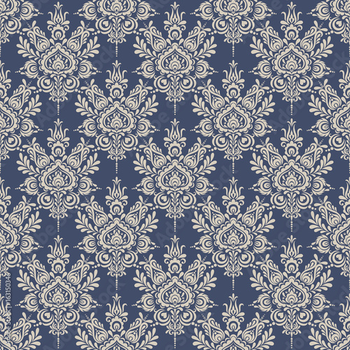 Seamless Background Baroque Style Blue And Beige Vintage Pattern Retro Victorian Ornament In