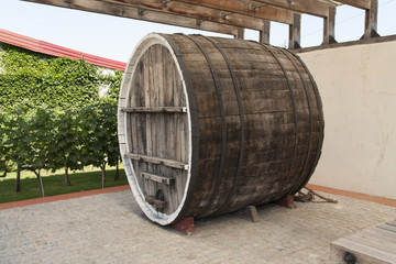 Wine wooden oak barrel photo