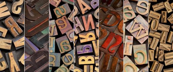 alphabet in vintage letterpress wood type