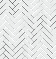 Seamless pattern with modern rectangular herringbone white tiles. Realistic diagonal texture. Vector illustration.